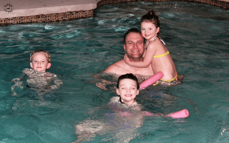 We almost always choose a hotel or motel with a pool so we can swim together at the end of our day. #familyvacations #familytrips