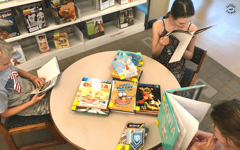 Getting kids to read this summer is one of the things we do daily so that I don't lose my mind. #summerideas #readingskills #summerslide #campmom #staycation #coffeeandcarpool