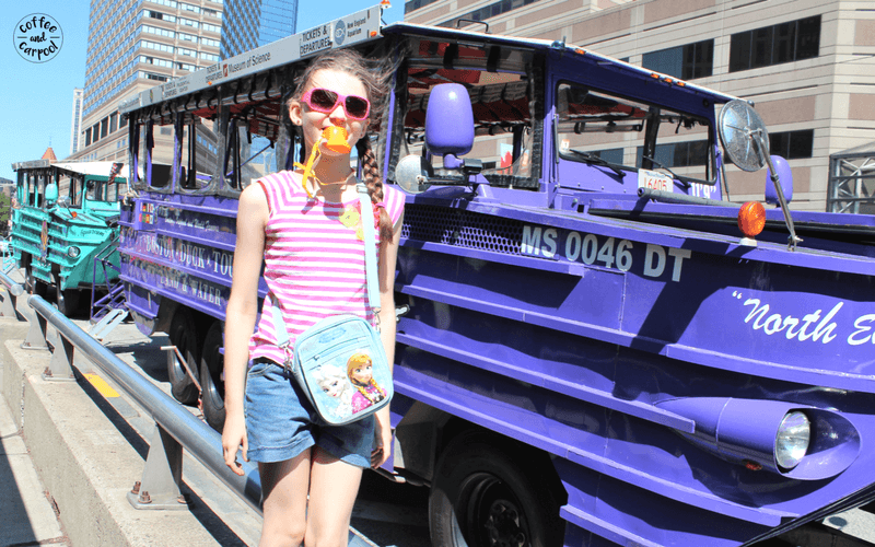 Act like a tourist for your family bucket list ideas. When we lived in Boston, we had to go on a duck boat tour. #familydateideas #staycation #familyfunideas #familybucketlist #coffeeandcarpool