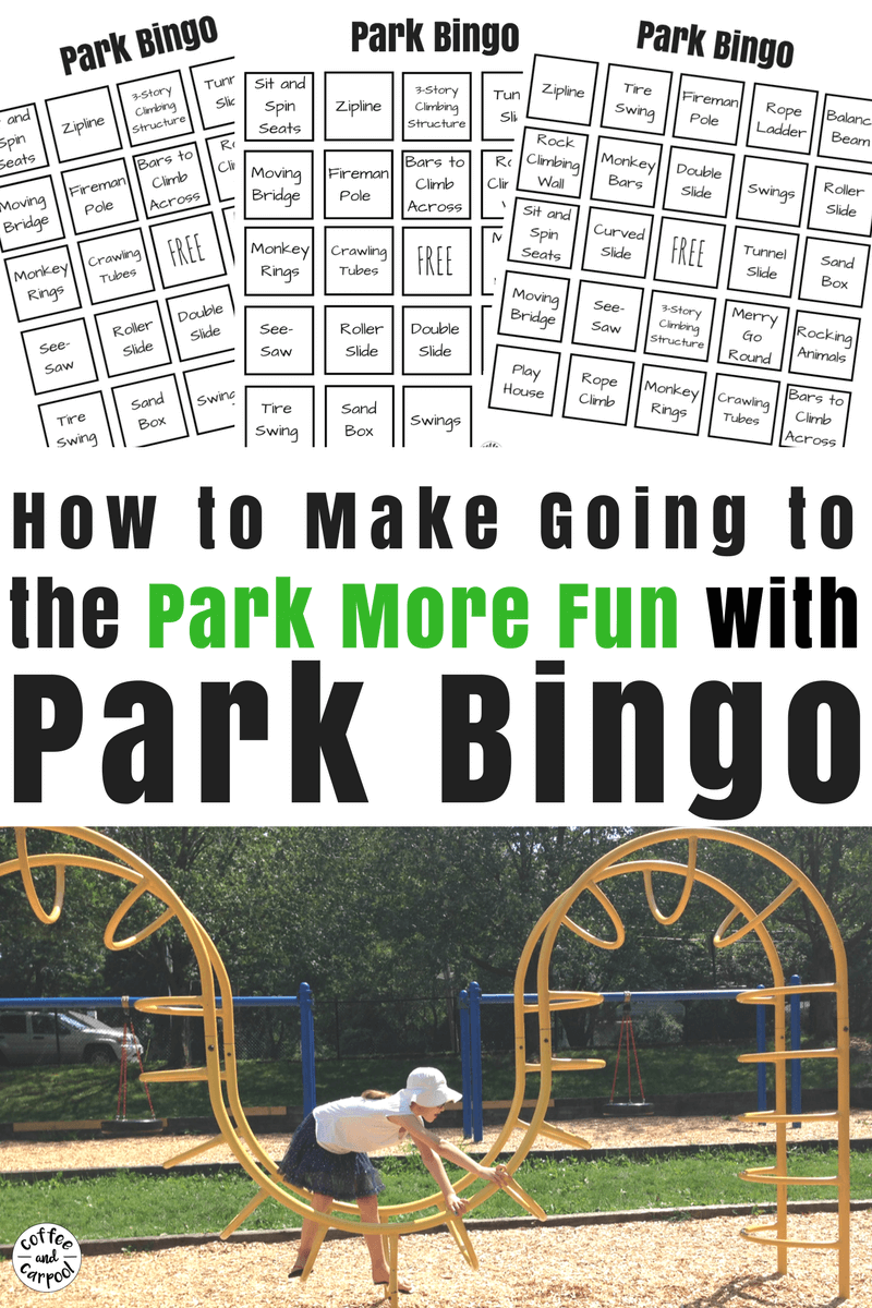 Make going to the park more fun with park bingo scavenger hunt. #staycationideas #staycation #freeprintables #coffeecarpool #summerfun #staycation #parkideas #campmom #summerideas