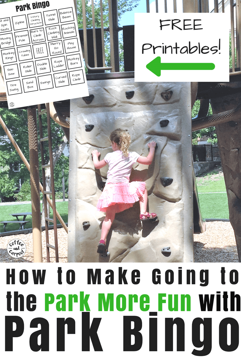 Use these free printable bingo cards to make going to the park more fun #campmom #freeprintable #summerfun #summerideas #parkfun #coffeeandcarpool