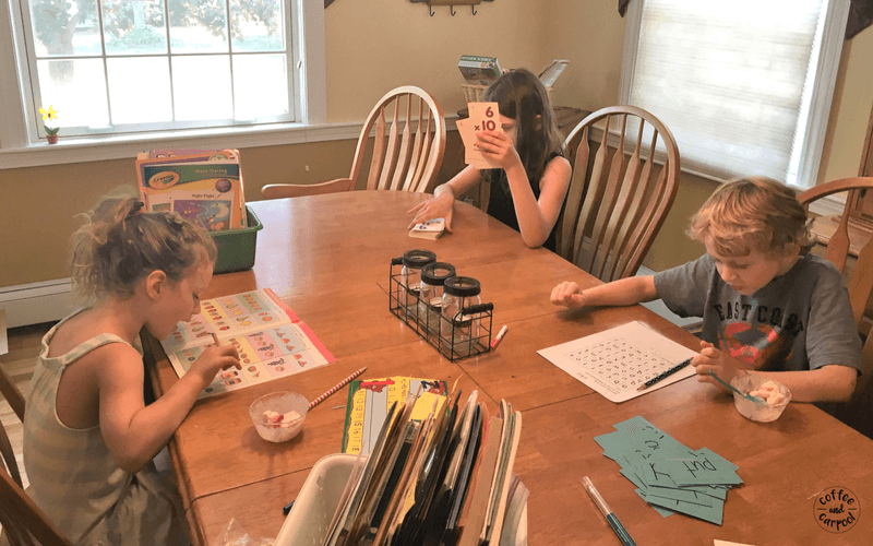 To prevent summer slide, we do summer learning every day at our house which includes, reading, writing, math and problem solving skills. #summerlearning #summerfun #summerslide #coffeeandcarpool #summerreading