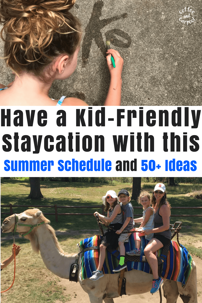 How to have a summer schedule that will keep your kids having fun this summer. #summerfun #summerstaycation #summerschedule #summerfun #summerideas #coffeeandcarpool #freeprintable