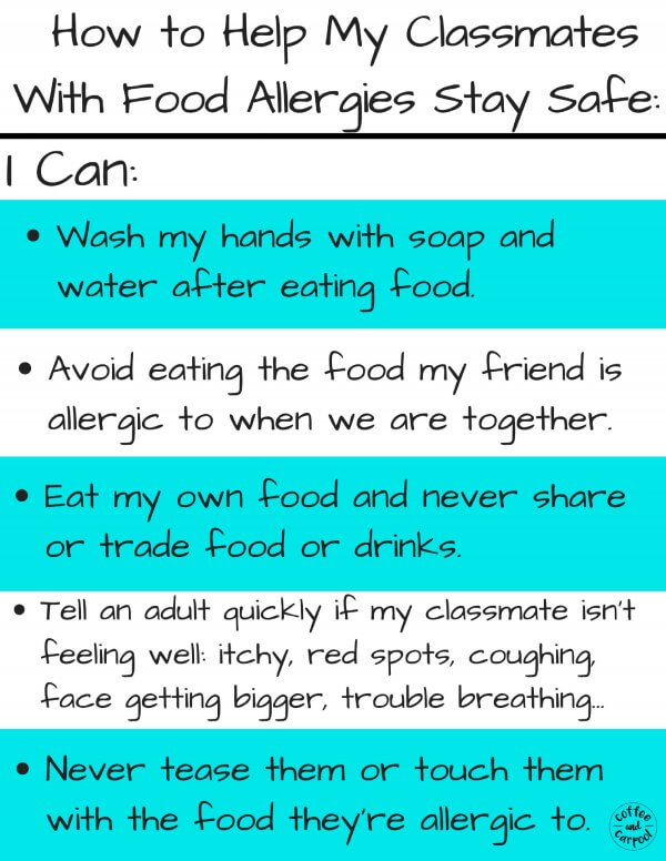 What your kids need to know to help keep their friends with food allergies safer #foodallergy #foodallergyawarness #foodallergymom #foodallergymoms #foodallergykids #peanutallergy #allergictonuts #allergiesinschool #coffeeandcarpool #freeprintable