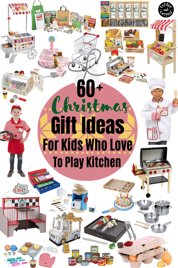 Have a kid who loves to play pretend? Then you need these 60+ perfect gifts for kids who love to pretend cook #gifts #giftsforkids #dramaticplaygifts #playislearning #playiswork #positiveparenting #parenting101 #holidaygifts #christmasgifts #giftlists #giftideasforkids #creativegiftsforkids #coffeeandcarpool