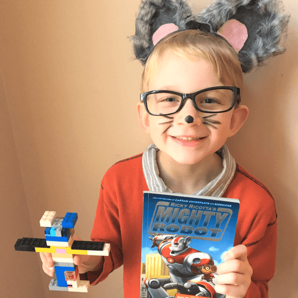 Books for a reluctant reader will even inspire them to dress up as the main character and create a sidekick out of legos #reluctantreader #reluctantreaders #readers #readmorebooks #kidsread #booklists #bestkidsbooks #helpreluctantreaders #helpareluctantreader #coffeeandcarpool