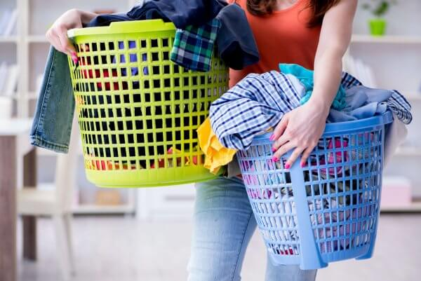 Balance all the laundry with this tip for sahm work-life balance #coffeeandcarpool #sahm #momadvice #laundrytips #momguilt