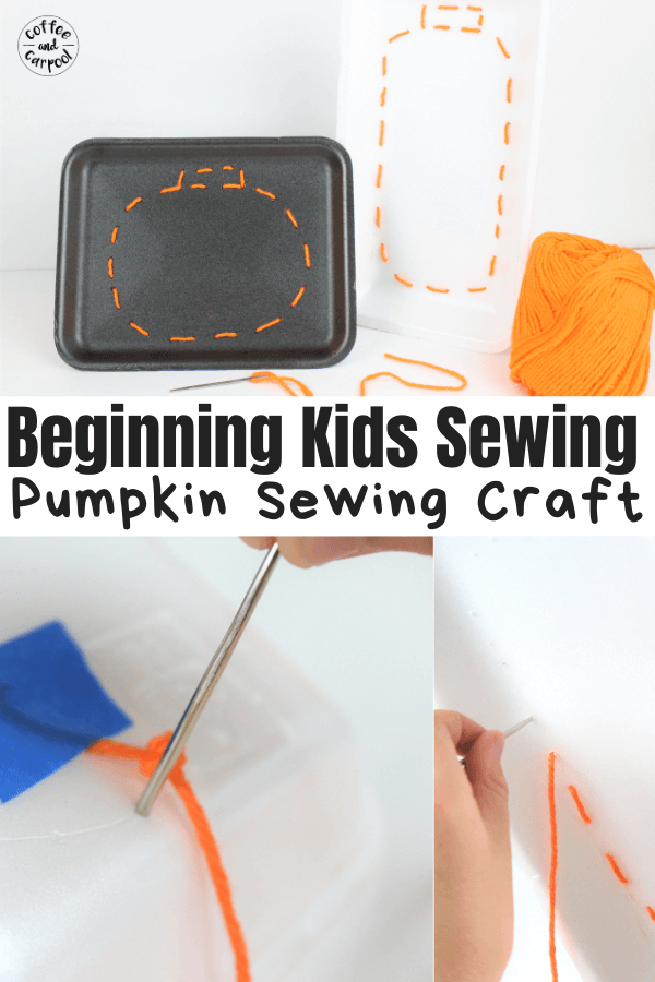 Pumpkin sewing craft to teach kids beginning sewing skills is a perfect fall activity for kids. It's also a great way to celebrate fall, Halloween, and Thanksgiving. #fallcraftsforkids #beginningsewing #beginningsewingforkids #autumncraftsforkids #Thanksgivingcraftsforkids #Thanksgivingactivitiesforkids #Thanksgiving #fall #coffeeandcarpool