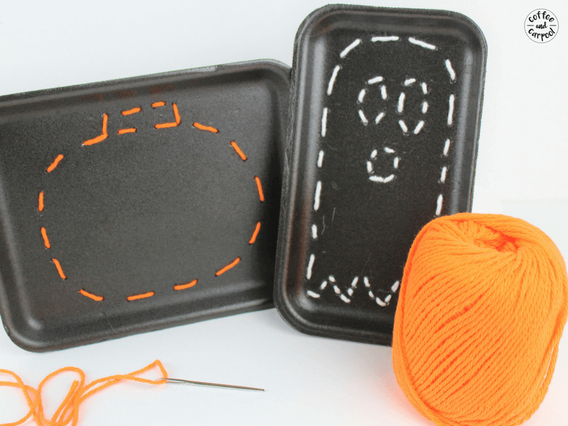 How to Teach Your Kids to How to Sew with this Halloween Sewing Craft #halloween #halloweencraft #ghostcraft #pumpkincraft #Halloweensewing #sewingproject #learnhowtosew #coffeeandcarpool