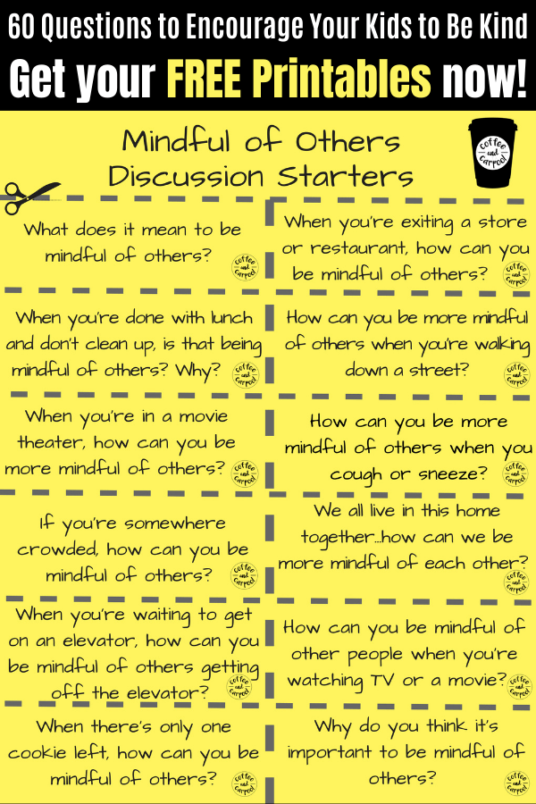 Kindness Discussion Starters to use with your kids to talk about how to be kind #raisingkindkids #raisinghelpers #raisekindkids #kindkids #kidswhoarehelpers #beanincluder #goodfriend #discussionstartes #familydinner #familytime #coffeeandcarpool