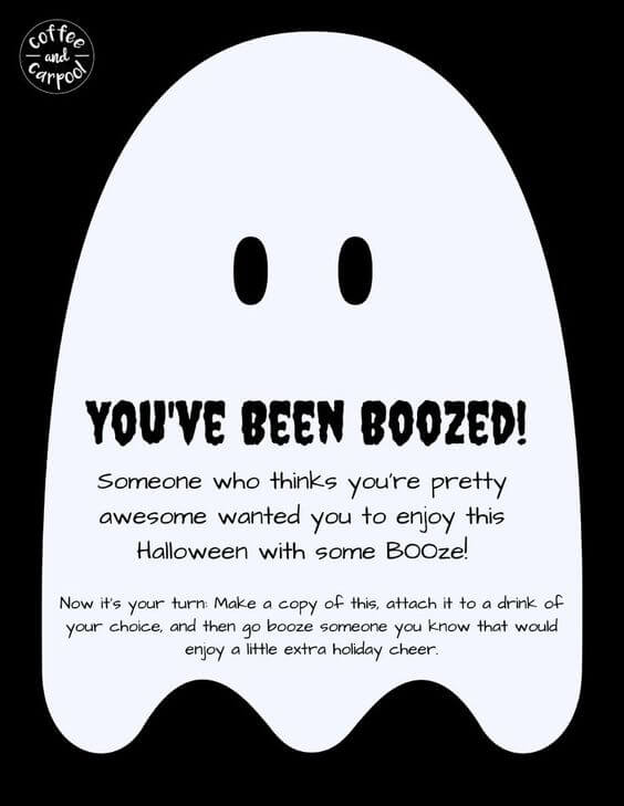 You've been boozed Halloween printable fun for moms this Halloween #Halloweenfun #Halloweenformoms #Halloweenbooze #youvebeenboozed #You'vebeenbooed #booed #boozed #Halloweenforadults