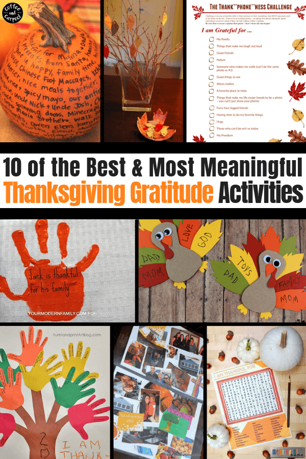 The best and most meaningful Thanksgiving Gratitude Activities to help families focus on what they're really thankful for this November. #thanksgivingactivities #thanksgivingactivities #thanksgivinggratitude #gratitudeactivities #thankfulactivities #bestofthanksgiving #kidsthanksgiving #coffeeandcarpool #teachingkidstobegrateful #kidstobegrateful