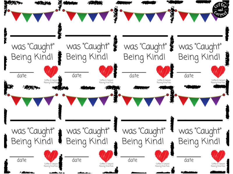 Caught being kind cards are great for helping to reward kindness and celebrate kindness in your home and classroom. #raisekindkids #bekind #caughtbeingkind