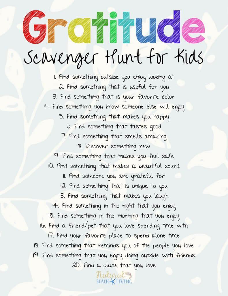 Gratitude Scavenger Hunt to help kids be thankful