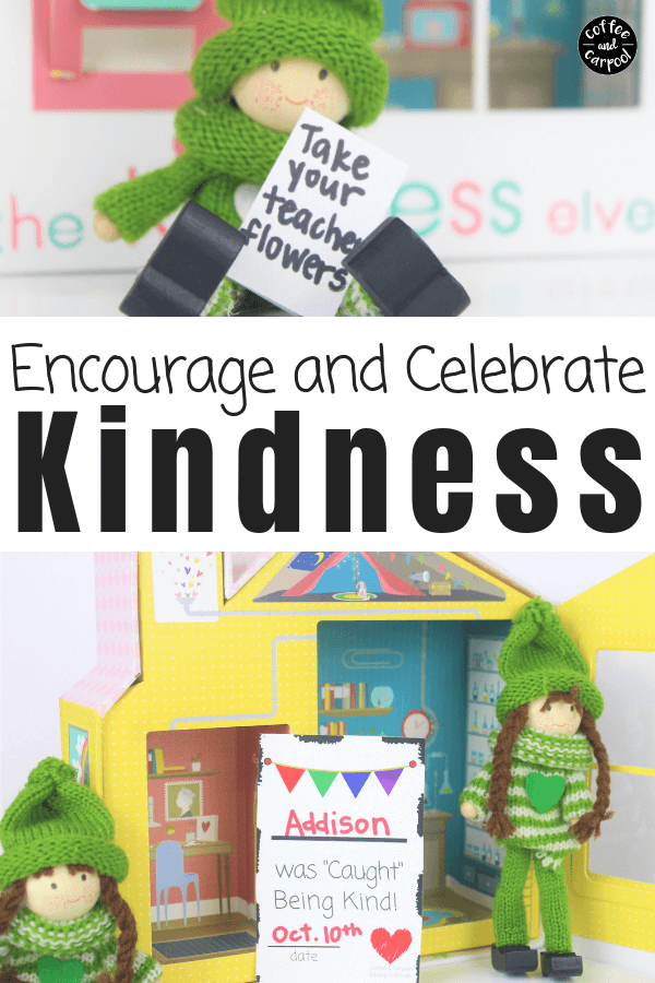Encourage and Celebrate Kindness in our kids with these kindness elves and these caught being kind cards. #kindnesselves #encouragekindness #bekind