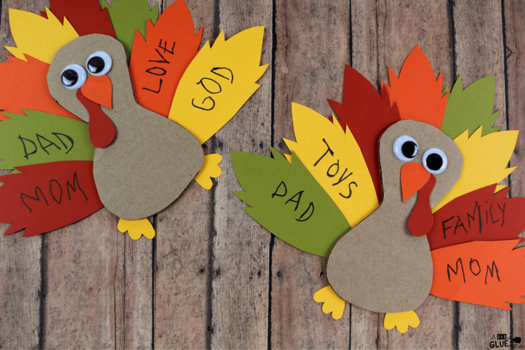 Thankful turkeys are great for kids to write what they're thankful for this Thanksgiving