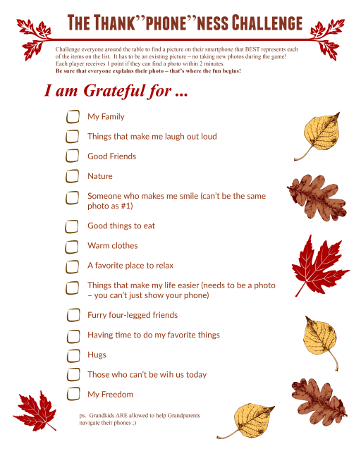 Use this Thanksgiving gratitude photo scavenger hunt as a unique November family activity