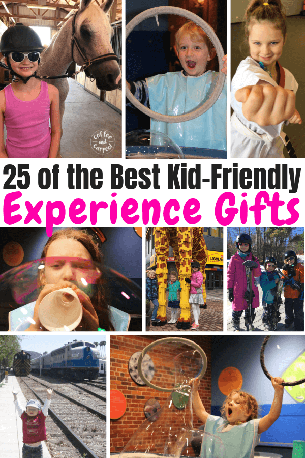 25 of the Best Kid-Friendly Experience Gifts your kids will love and you'll have less stuff in your house #holidaygifts #experirencegifts #coffeeandcarpool #bestkidgifts