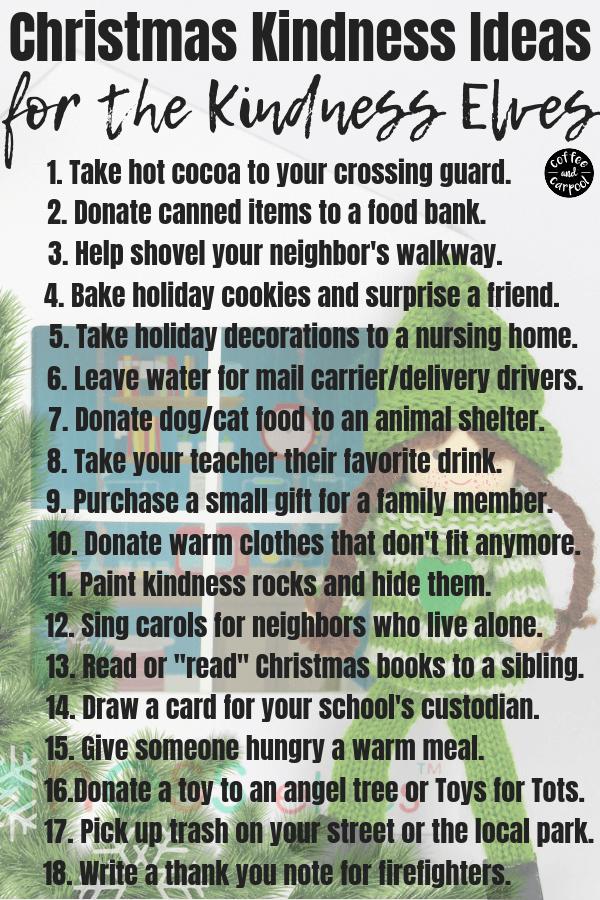 Christmas Kindness Elves Ideas to Spread Christmas Joy this holiday season #Christmaskindness #KindnessElves #HOlidaytraditions #coffeeandcarpool