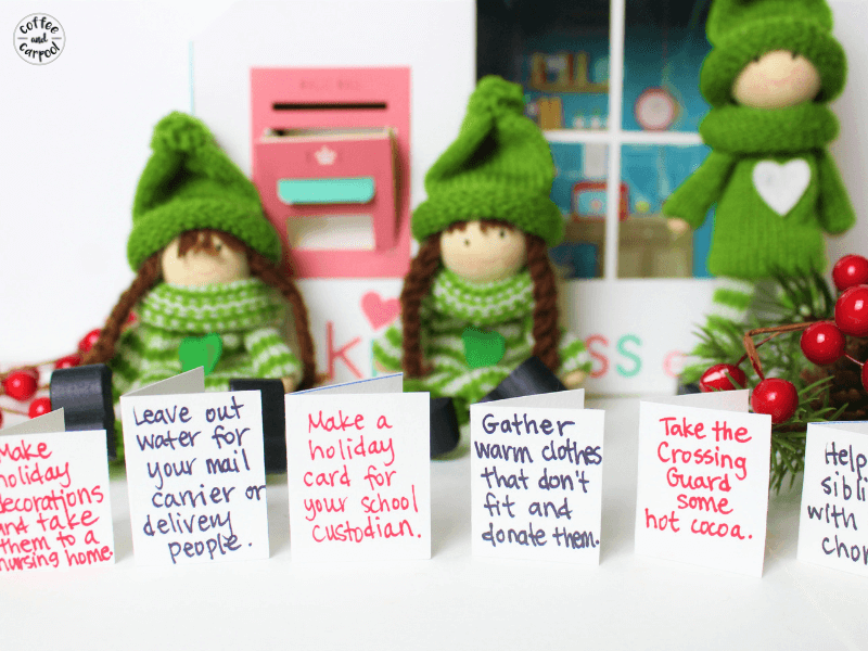 Christmas Kindness Elves are a simple way to spread kindness and joy this Christmas season #Christmaskindness #Kindnesselves #coffeeandcarpool #holidaytraditions