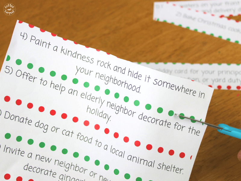 Cut the Christmas Kindness Activity strips to make into paperchains #ChristmasKindness #kindkids
