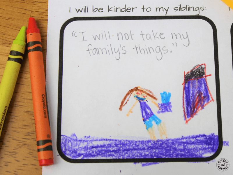 Kids can share how they're going to be more kind to their siblings with these simple New Year's Resolutions #newyearsactivities #newyears #raisekindkids #kindtosiblings #coffeeandcarpool
