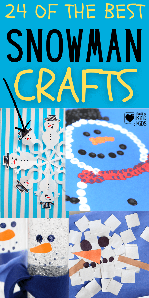 These are 24 of the Best snowmen crafts for kids and are perfect for winter activities when it's too cold to go outside and make actual snowmen #winteractivities #wintercrafts #snowmen #snowman #snowmancrafts #snowmencrafts #winteractivitiesforkids #wintercraftsforkids #coffeeandcarpool