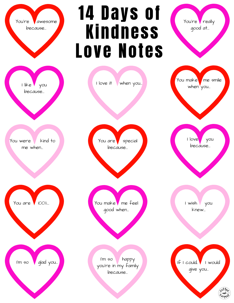 14 Days of Kindness Notes for Valentine's Day
