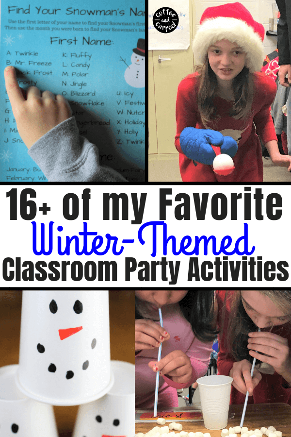 Best Winter-Themed Classroom Party Activities #winterparty #classroompartyactivities #snowmangames #snowmanparty #coffeeandcarpool