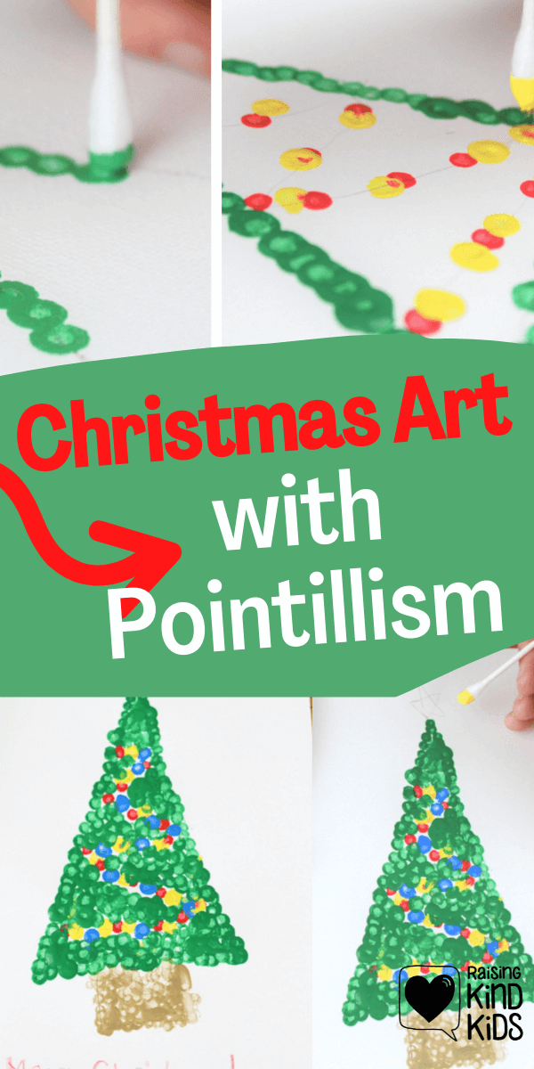 This Christmas art with Pointillism is a greatDecember art projects for kids to decorate your home or to give as gifts or to turn into Christmas cards kids can make. Christmas tree art projects get kids excited about Christmas time and December. #christmas #Christmastree #christmasart #christmascrafts #easychristmasprojects #easychristmascrafts #decemberartprojectsforkids