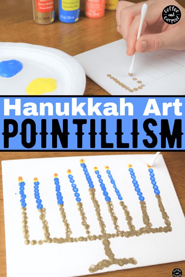 Celebrate Hanukkah with this Hanukkah art project using dots to create a menorah. #Hanukkah #Chanukkah #Hanukkahcraft #Hanukkahart #Hanukkahactivities #Hanukkahactivitiesforkids #interfaith #Jewishcrafts #Jewishprojects #Jewishactivities