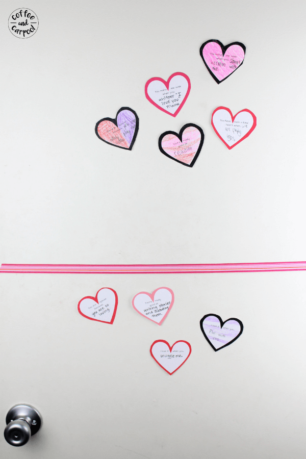 These Kindness Notes for Kids are perfect for Valentine's Day to spread some love in your home. Tape one to your kids' door every day leading up to Valentine's Day. Help build a sibling connection by having kids write kindness notes to their siblings every day leading up to Valentine's Day #valentinesday #vday #kindness #kindnessactivities #coffeeandcarpool