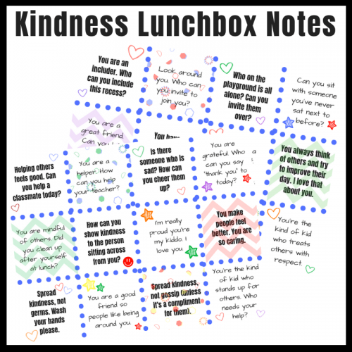 Kindness Lunchbox Notes to help kids remember to be kind at school