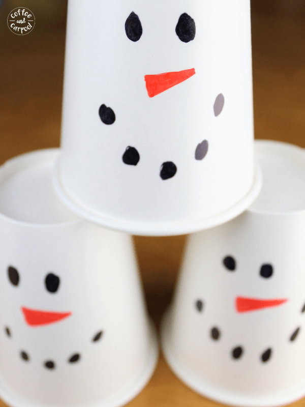 Snowman bowling is a simple winter holiday game for classroom holiday parties. #classroomholidayparties #snowmanparty #coffeeandcarpool #snowmanparty #snowmangames