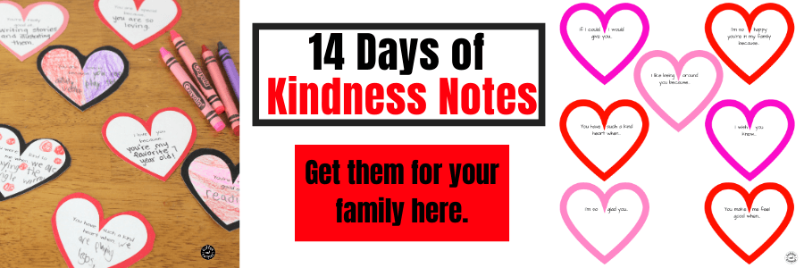 These Kindness Notes for Kids are perfect for Valentine's Day to spread some love in your home. Help build a sibling connection by having kids write kindness notes to their siblings every day leading up to Valentine's Day #valentinesday #vday #kindness #kindnessactivities #coffeeandcarpool