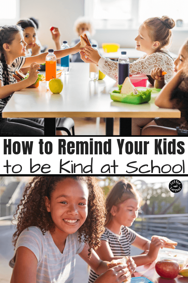 Help kids remember to be kind at school with these kindness lunchbox notes you can put in their lunchboxes. #kindnessactivities #lunchboxnotes #schoollunches #coffeeandcarpool #kindkids