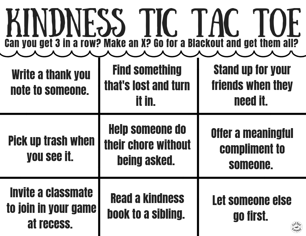 Spread kindness with this Tic Tac Toe game to encourage kindness in our kids. #kindness #tictactoe #kindnesschallenge #kindchallenge #coffeeandcarpool #kindkids