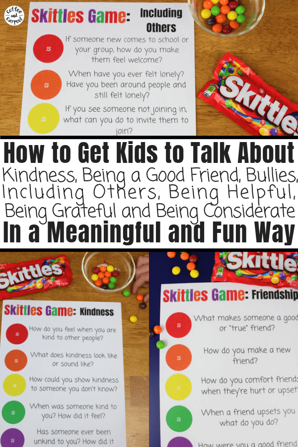 Skittles Game for Kids to Encourage Kindness and Friendship by having meaningful discussions and conversations about hard topics. This is perfect for youth groups, Scouts, classrooms and family dinners. #skittlesgames #skittles #kindness #discussion #familydinner #scouts #coffeeandcarpool #kindness