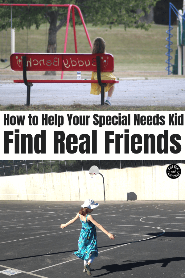Helping special needs kids find real friends can be tricky but it's crucial for their mental health and to bully proof them. #specialneeds #friends #sped #iep #friendship #coffeeandcarpool #disability