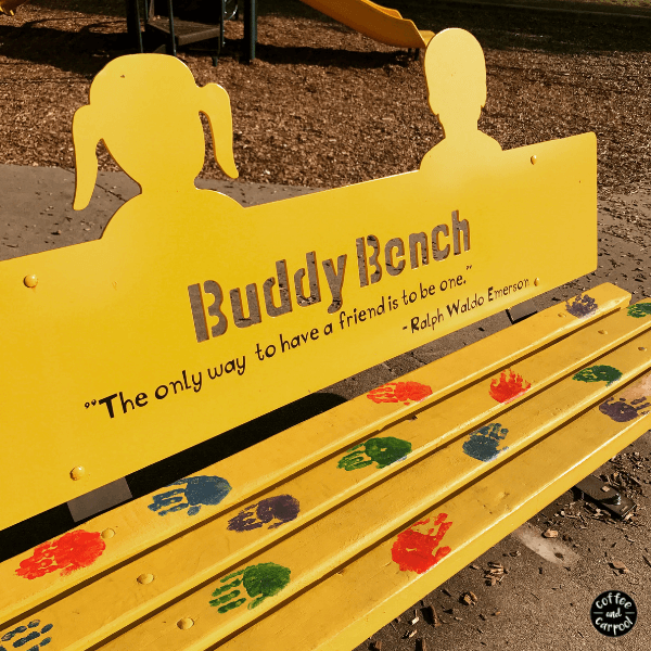 Buddy bench to help kids know when other kids want to be included and want to be invited to play. Being an includer helps with bully prevention #bully #bullyprevention #buddybench #includer #coffeeandcarpool #raisingkindkids