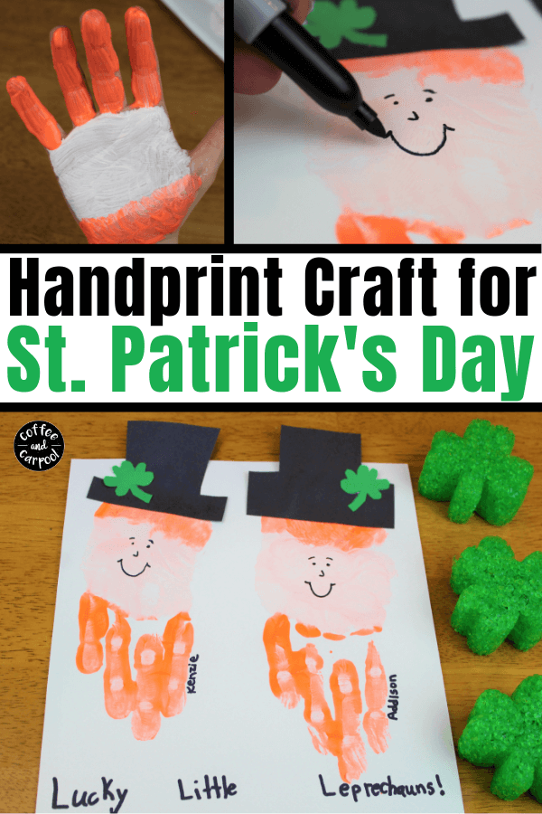This leprechaun hand print craft is the perfect St. Patrick's Day craft for kids since it measures their small little hand. #stpatricksday #stpatricksdaycrafts #leprechaun #handprintcraft #handrpintart #coffeeandcarpool