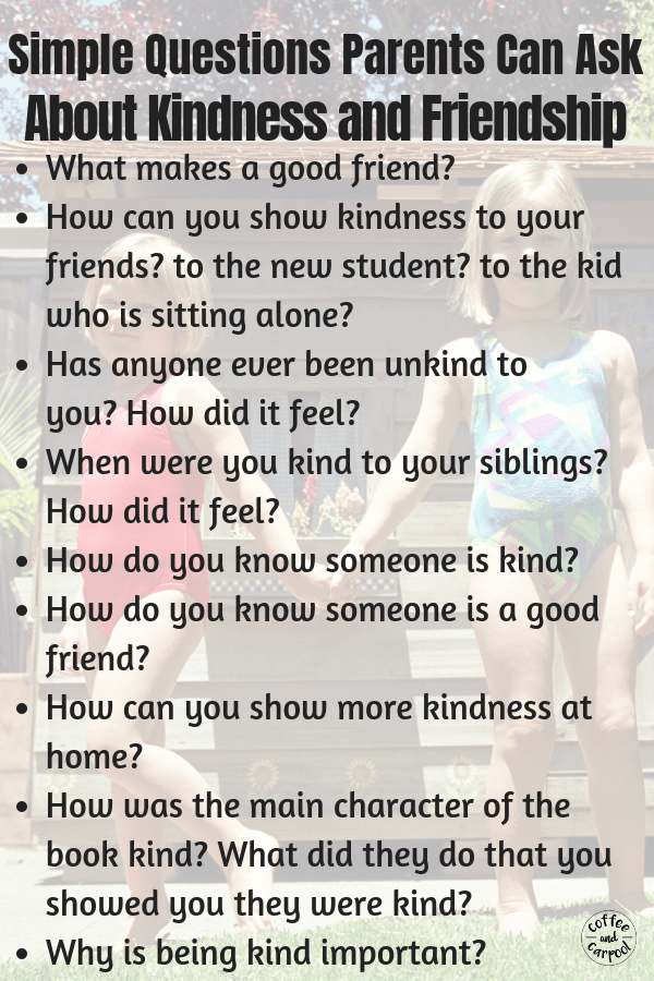 Friendship questions to use when we read books with our children to discuss what makes a good friend and how friends speak and act towards each other. #friendship #friends #parenting #kindkids #kindness