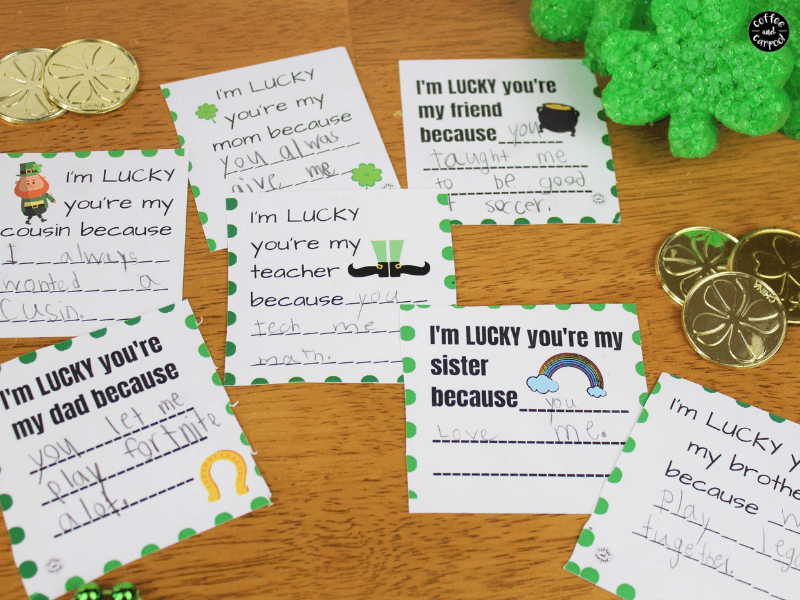 St. Patrick's Day cards for kids to make to help spread kindness to their family, friends and teacher. These are sweet and lucky kindness activities for kids. #kindnessactivities #stpatricksdayforkids #stpatricksday #kindness #raisingkindkids #printable