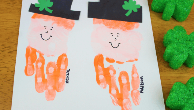 This leprechaun handprint craft is the perfect St. Patrick's Day craft for kids since it measures their small little hand. #stpatricksday #stpatricksdaycrafts #leprechaun #handprintcraft #handrpintart #coffeeandcarpool
