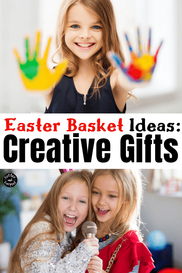 Best Easter Basket Ideas for kids who are creative or for kids who want to be more creative. Let your Easter Bunny bring gifts that will spark creativity in art sets and dramatic play #easter #easterbasket #easterbasketideas #creativegifts #creativekids #gifts