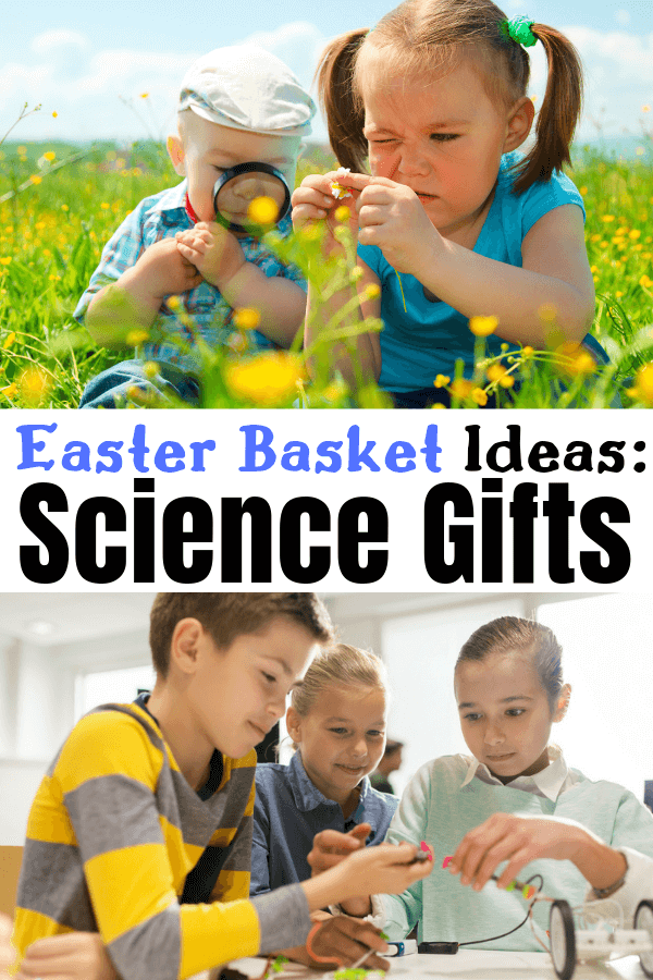 The best Easter Basket ideas for kids who love science or want to be scientists. Let the Easter Bunny bring science gifts to your kids who love science including chemistry gifts, astronomy gifts, biology gifts and paleontology gifts #easter #easterbasket #easterbasketideas #gifts #giftguides #sciencegifts #scienceideas