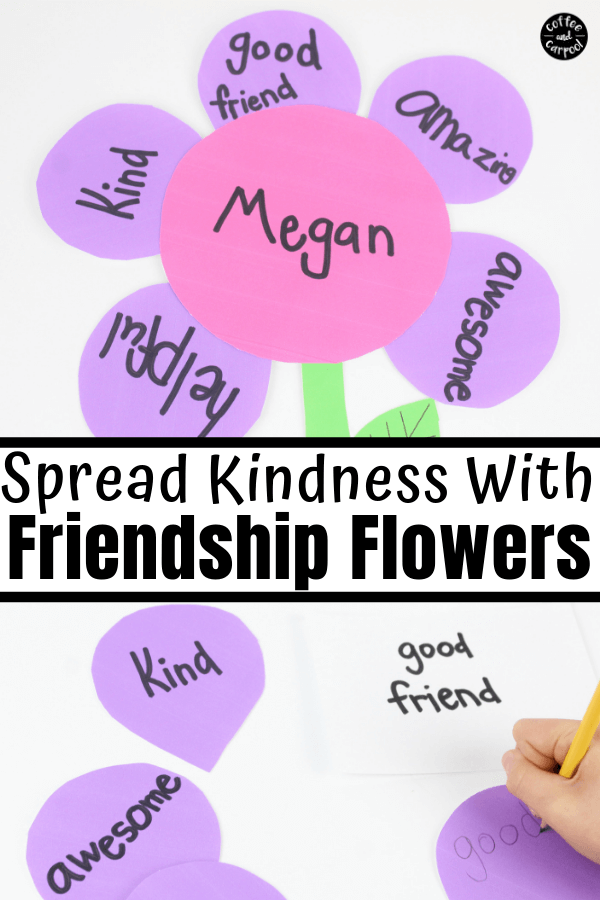 This kindness flower craft is perfect for kids to make for their friends by sharing kind words. This kindness craft is also a great friendship craft. #kindnesscraft #kindnesscrafts #friendshipcraft #friendship #kindnessactivities #kind #coffeeandcarpool