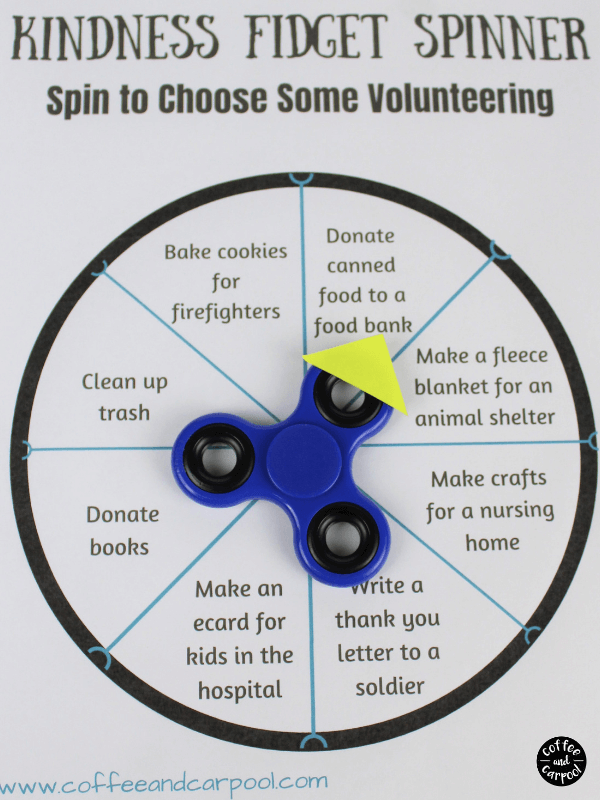 Fidget spinner activity to help spread kindness with our kids. Give your kids ideas to volunteer and ideas to share kindness. #fidgetspinner #volunteeractivities #kindnessactivities #coffeeandcarpool #