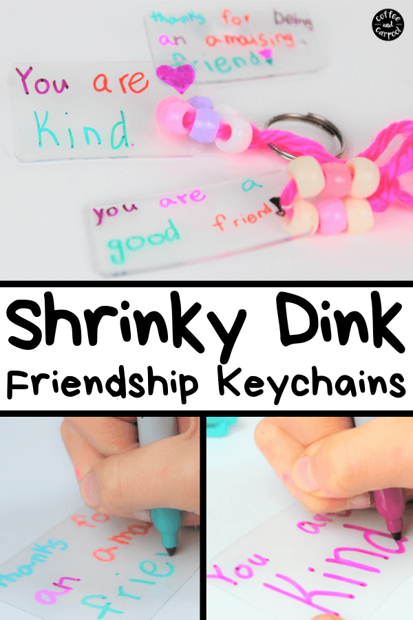 Make friendship gifts that are meaningful and perfect to give as gifts to friends. These friendship gifts for kids friends are fun because they're shrinky dink keychains. #shrinkydink #crafts #diygifts #diycrafts #friendship #friendshipgifts