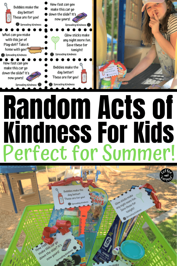 Random acts of kindness for kids perfect for a summer activity for kids. These free printables and dollar store toys will spread kindness this summer when you hide them at your local park. #raks #randomactsofkindnessforkids #summer #kindness #summeractivities #summeractivity #kindkids #coffeeandcarpool #freeprintable #kids